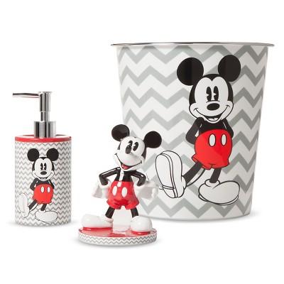 Disney® Mickey Mouse Chevron Bath Coordinate Collection - Gray/White