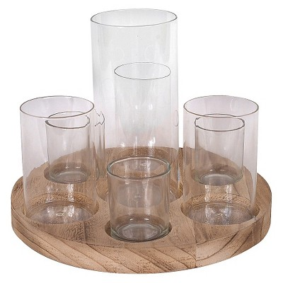"Round wood Tray with 7 Glass Votive Holders Vases (S-8 11"")"