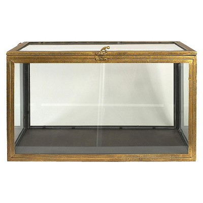 Metal and Glass Curio Box - Gold