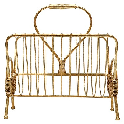 Metal Magazine Rack - Gold