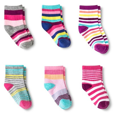 Toddler Girls' 6-Pack  Casual Sock - Multi-Colored 6-12 M