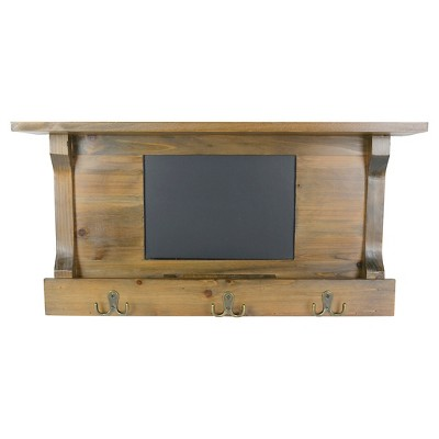 "Wall Shelf with Hooks & Chalkboard 24""x12"""