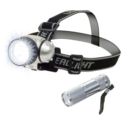 Stalwart 12 LED Headlamp PLUS 6 LED Flashlight Super Set