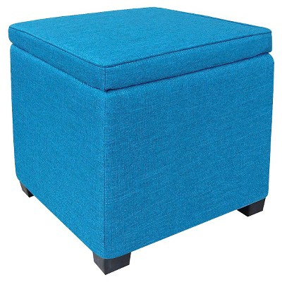 Room Essentials™ Storage Ottoman with Feet - Turquoise Blue