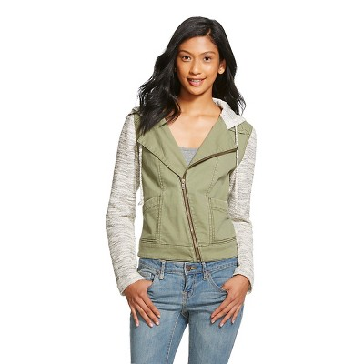 Women's Knit Sleeve Moto Jacket Olive XL - Mossimo Supply Co. (Junior's)