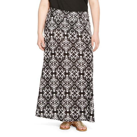 s plus size knit maxi skirt black white st target