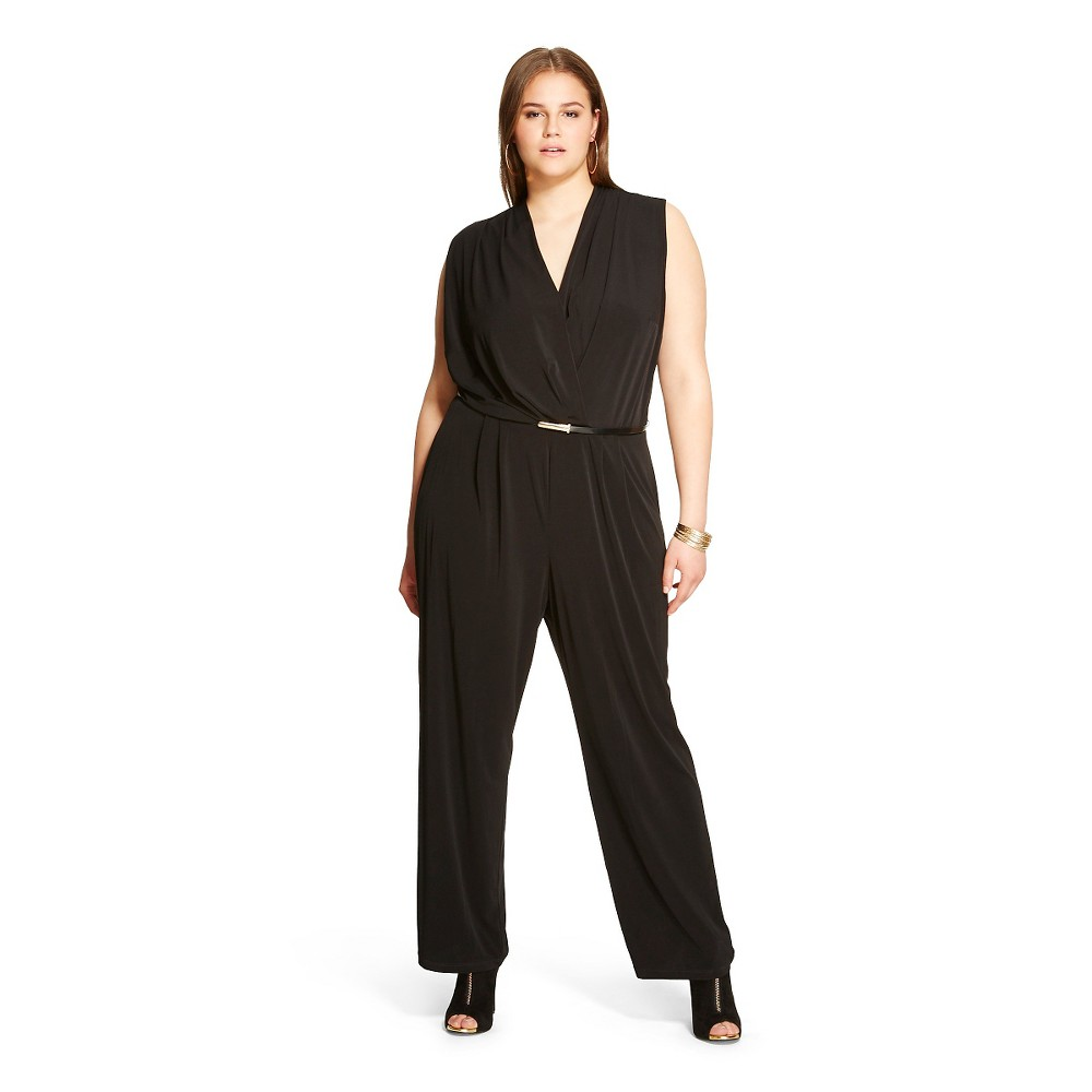 Women's Plus Size Sleeveless Belted Jumpsuit Black 18W-Studio One
