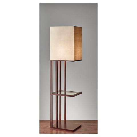 Adesso Baxter Shelf Floor Lamp Brown Target