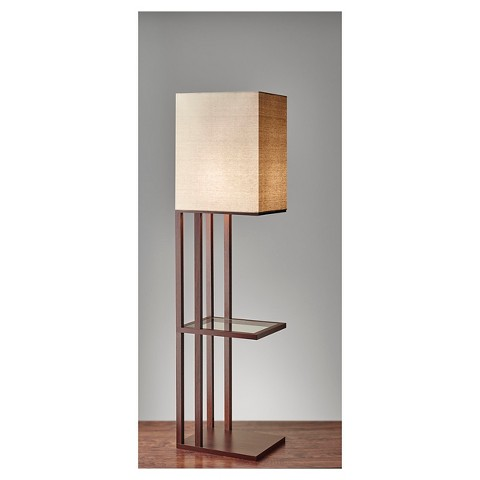 Adesso baxter shelf floor lamp brown target for Floor lamp with shelves