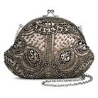 TEVOLIO™ Beaded Pattern Clutch Handbag with Kiss Lock Clasp - Taupe