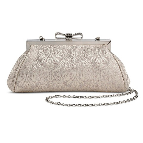 Women's Metallic Paisley Print Fabric Clutch Handbag with Jeweled Bow Clasp and Chain Strap Ivory - Tevolio™