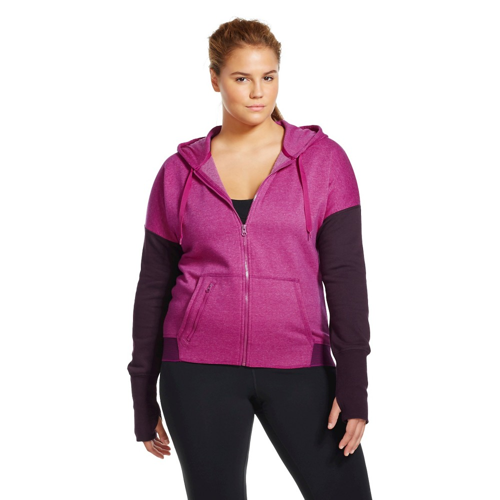 C9 Champion Women's Plus Size Active Fleece Hoodie Magenta Zeal Heather 1X