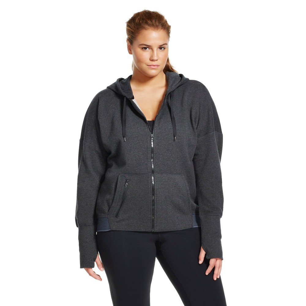 C9 Champion Women's Plus Size Active Fleece Hoodie Black Heather 1X