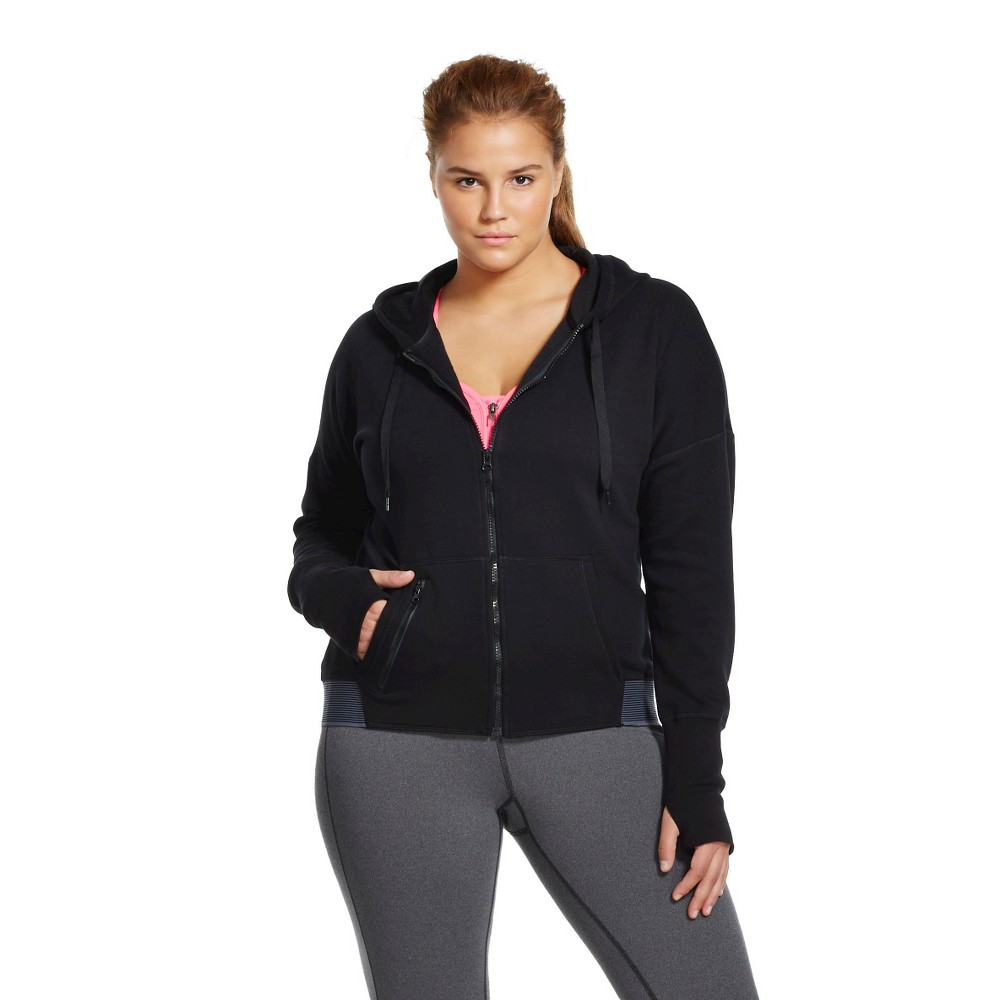 C9 Champion Women's Plus Size Active Fleece Hoodie Black 1X