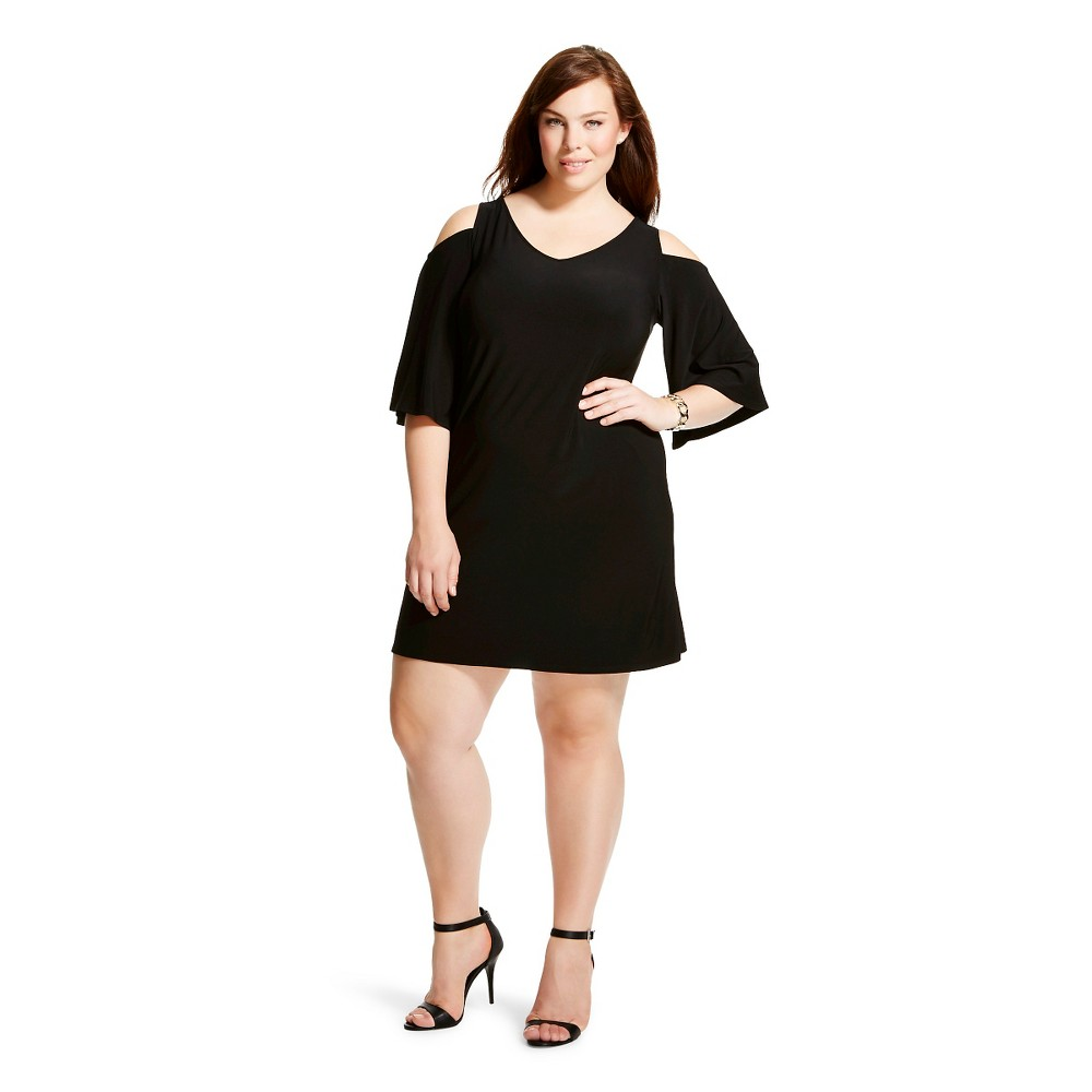 Women's Plus Size Cold Shoulder Shift Dress Black 2X-Chiasso
