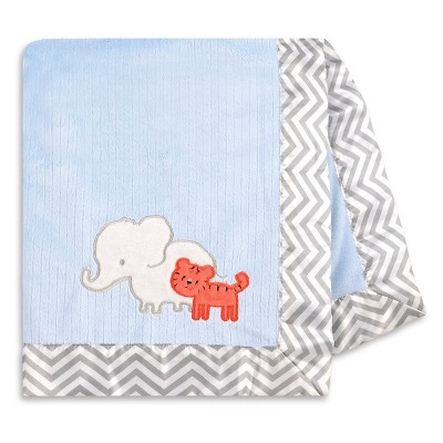 Just One You™ Made by Carter's® Elephant and Tiger Valboa Blanket with Satin Binding - Blue