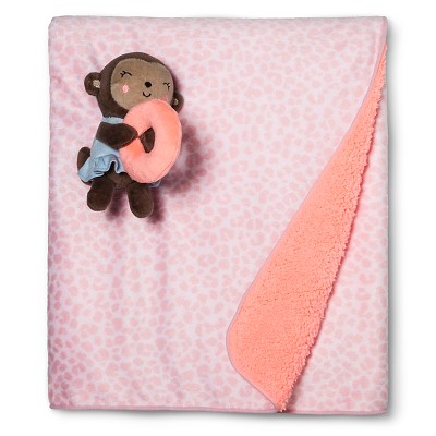 Just One You™ Made by Carter's® Baby Girl Valboa Blanket with Monkey Plush Rattle - Pink
