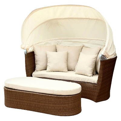 Manchester Outdoor Brown Wicker Cabana/Canopy Set