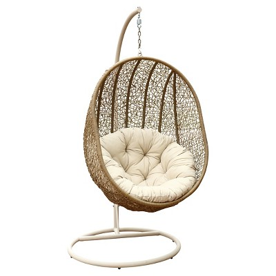 Cameron  Outdoor Light Brown Wicker Swing Chair