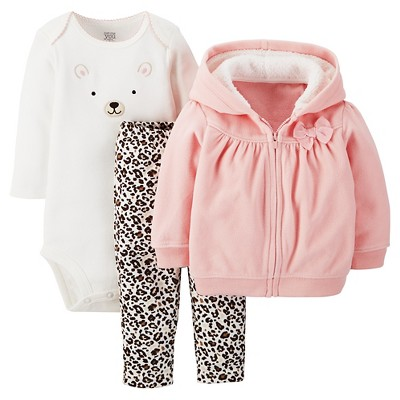 Just One You™ Made by Carter's® Fleece 3-Piece Hooded Cardigan Set Pink Bear 6M