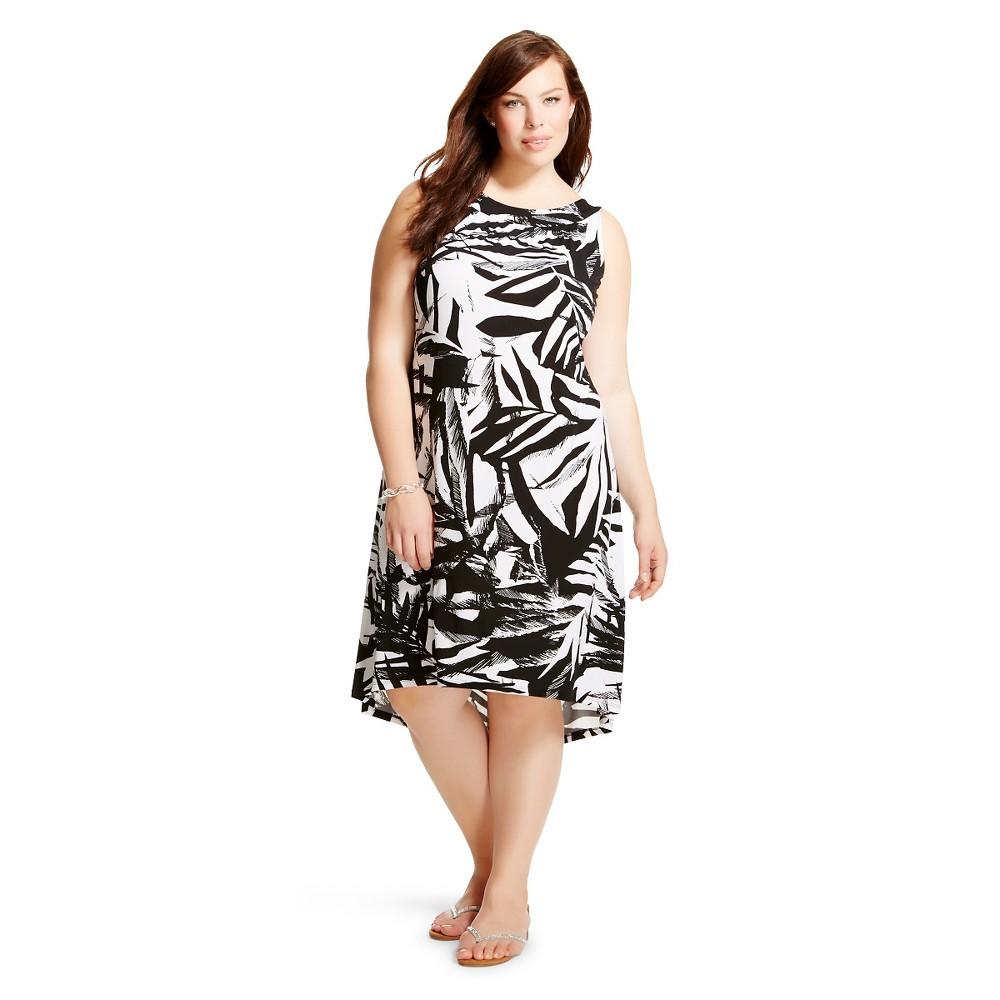 Women's Plus Size Sleeveless Shift Dress Black/White-Chiasso