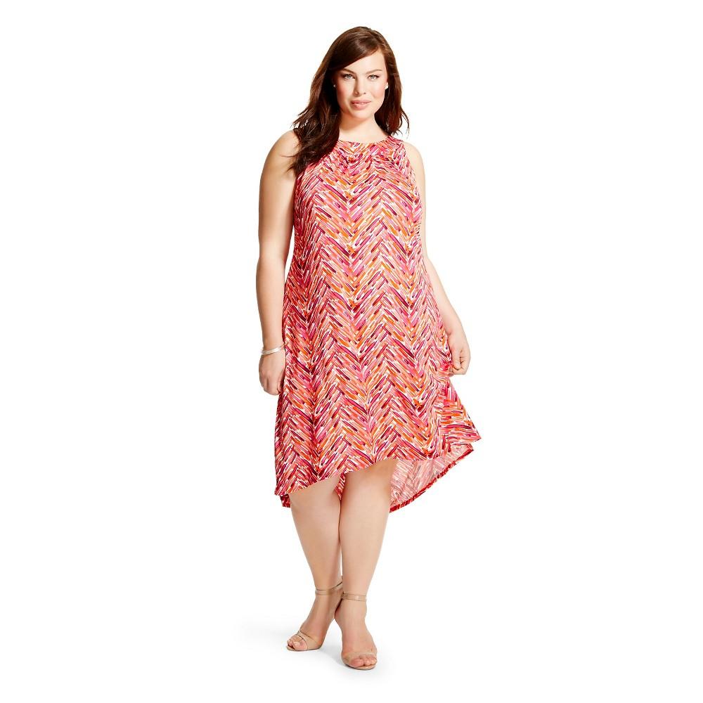Women's Plus Size Sleeveless Shift Dress Pink/Multi 3X-Chiasso