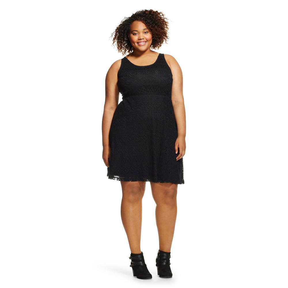 Women's Plus Size Sleeveless Lace Skater Dress - Mossimo Supply Co.(Juniors'), Black