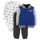 Just One You™ Made by Carter's® Fleece 3-Piece Hooded Cardigan Set Blue Airplanes 24M