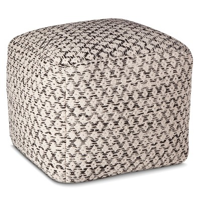 Black and White Woven Pouf Ottoman - Threshold