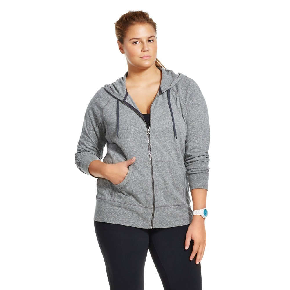 C9 Champion Women's Plus Size Active Hoodie Black Heather 1X