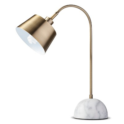 Threshold Brass Task Lamp with White Marble Base (includes CFL bulb)