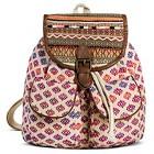 Street Level Women's Tribal Print Backpack - Tan/Purple
