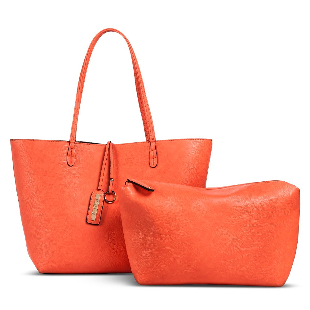Women's Reversible Tote Handbag with Accessories Bag Salmon/Pewter (Salmon/Silver) - Street Level