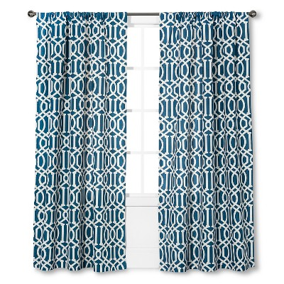 "Threshold™ Farrah Lattice Curtain Panel - Blue (54x84"")"