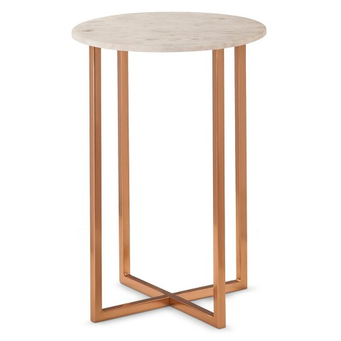 threshold copper accent table with marble top target