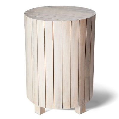 Threshold™ Whitewash Cylinder Drum Table