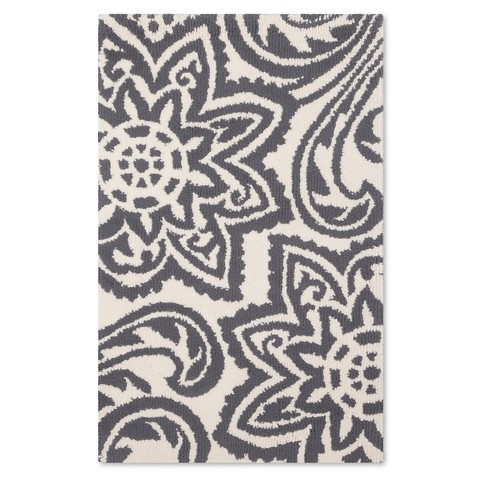 Threshold Selby Floral Fleece Accent Rug Gray Target