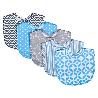 Trend Lab Logan 5 Pack Bib Set - Blue