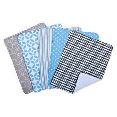 Trend Lab Logan 5 Pack Burp Cloth Bundle - Blue