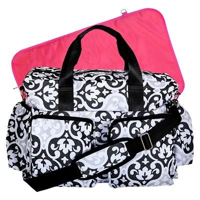 Trend Lab Scroll Duffle Diaper Bag - Black/White