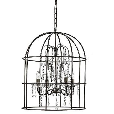 Metal Birdcage Chandelier with Crystals - Black