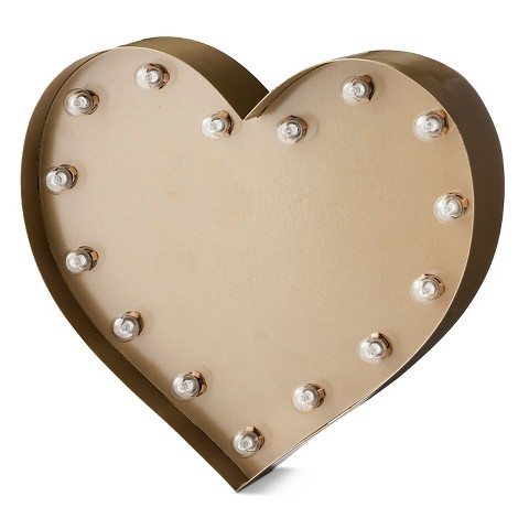 Small Metal Marquee Light Heart - Gold - Threshold™