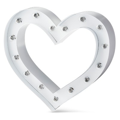Small Metal Marquee Light Framed Heart - White - Threshold™