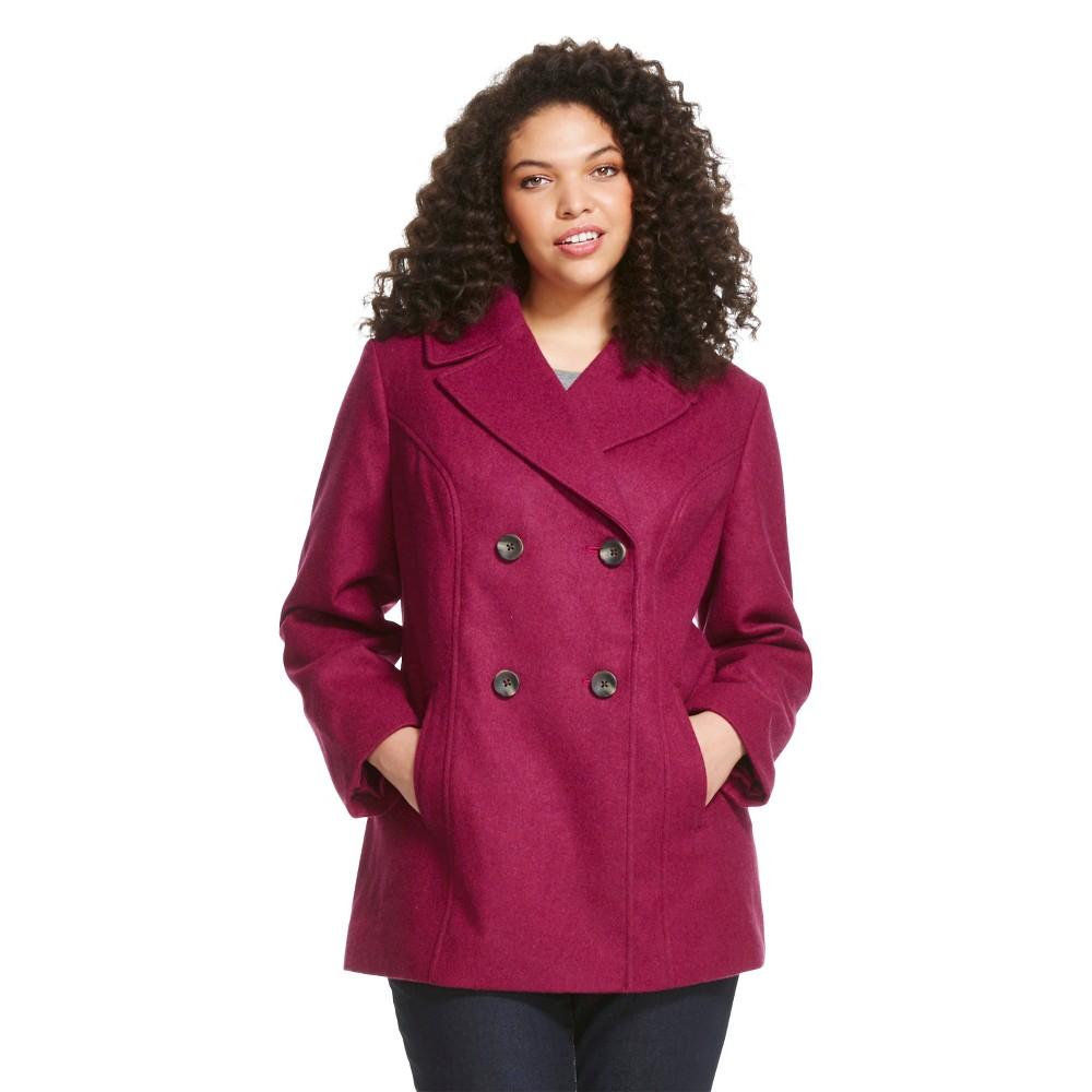 Plus Size Women's Plus Wool Blend Pea Coat Deep Magenta - Ava & Viv
