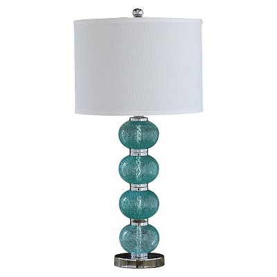 Glass Table Lamp with Linen Shade - Aqua