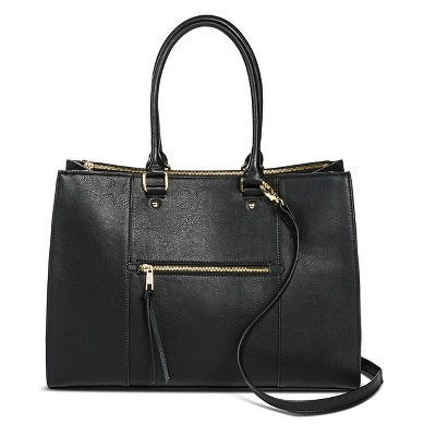 Women's Tote Handbag with Zip Front Pocket Handbag Black- Merona™