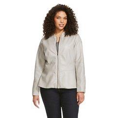 Women's Plus Size Peplum Faux Leather Jacket Grey -Mossimo™