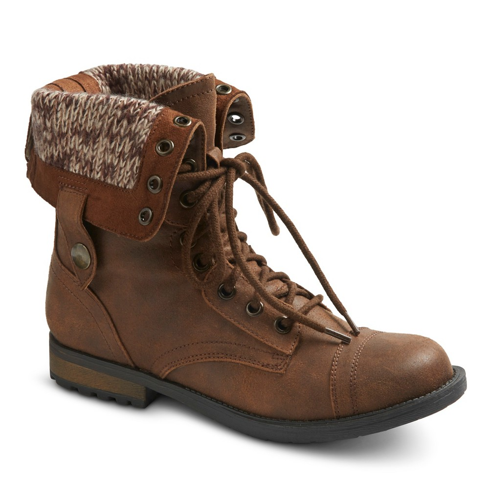 0666f77c8040d9 Mossimo Supply Co. Women s Betty Combat Boots Cognac 8.5  14340 ...