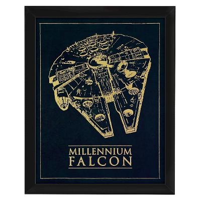 Star Wars Millennium Falcon Foil Embellished Paper Under Glass 16x20
