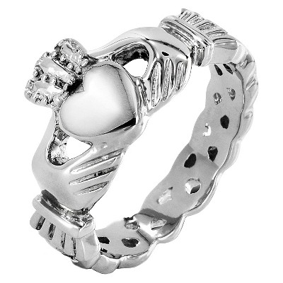 ELYA Stainless Steel Claddagh Ring with Celtic Knot Eternity Design (5mm)